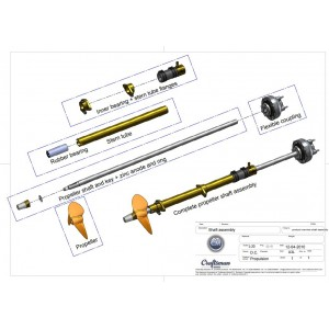 Stern tube 30mm L1.500mm
