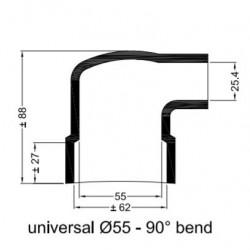 Haakse rubberen mof Ø 55 mm.