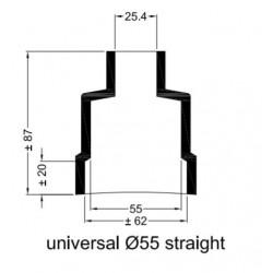 Rechte rubberen mof Ø 55 mm.