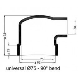 Haakse rubberen mof Ø 75 mm.