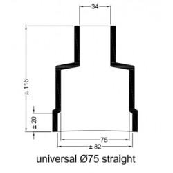 Rechte rubberen mof Ø 75 mm.