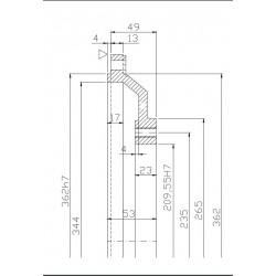 SAE 4-7 aluminiumadapterplatta 49mm.